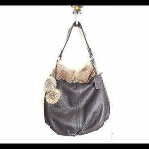 Diane Gail LA rabbit fur & cow leather hobo bag🌻
